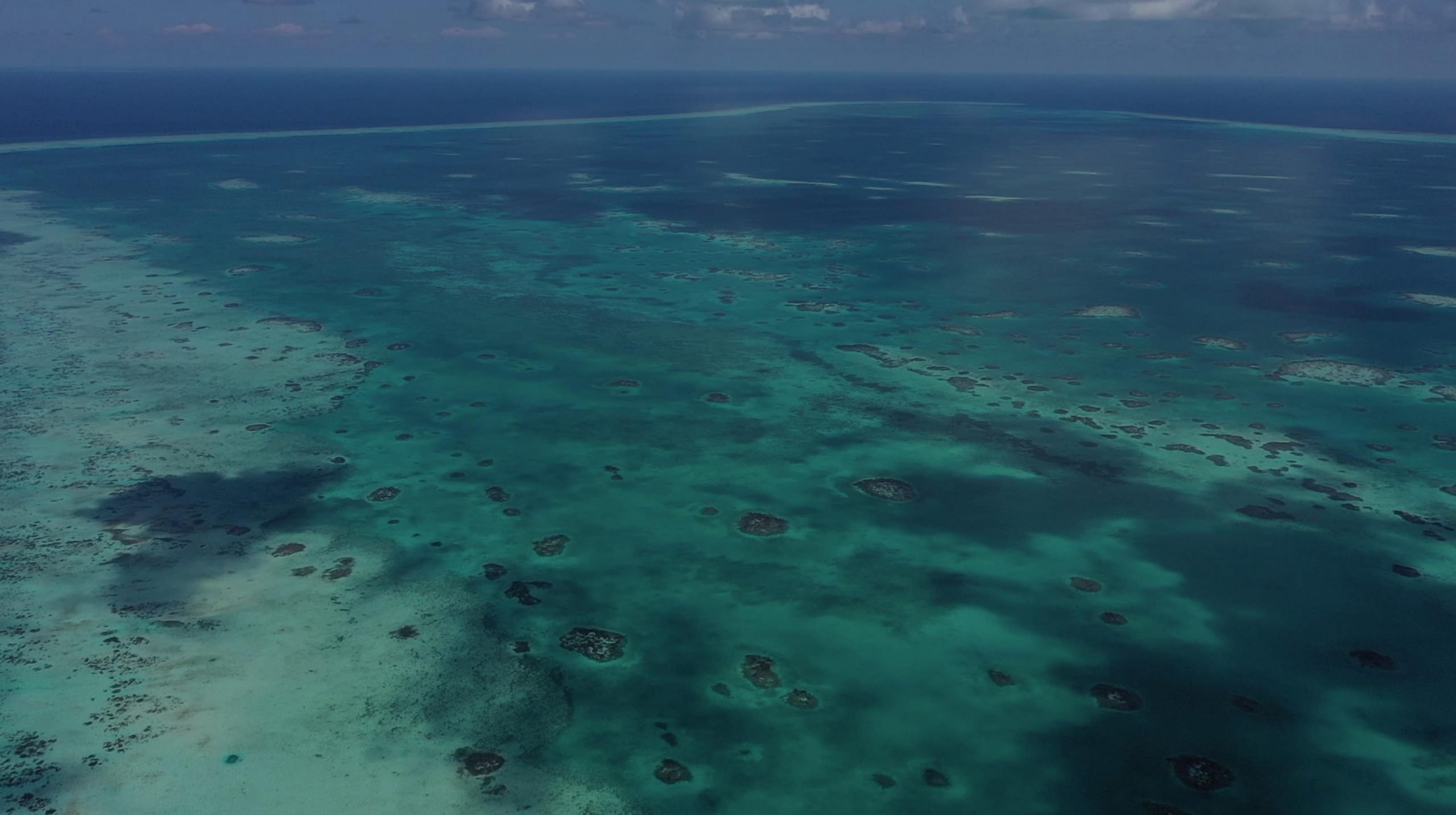 aerial view of belize barrier reef