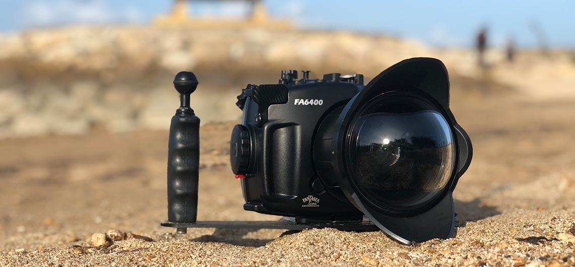 underwater camera sitting on the beach