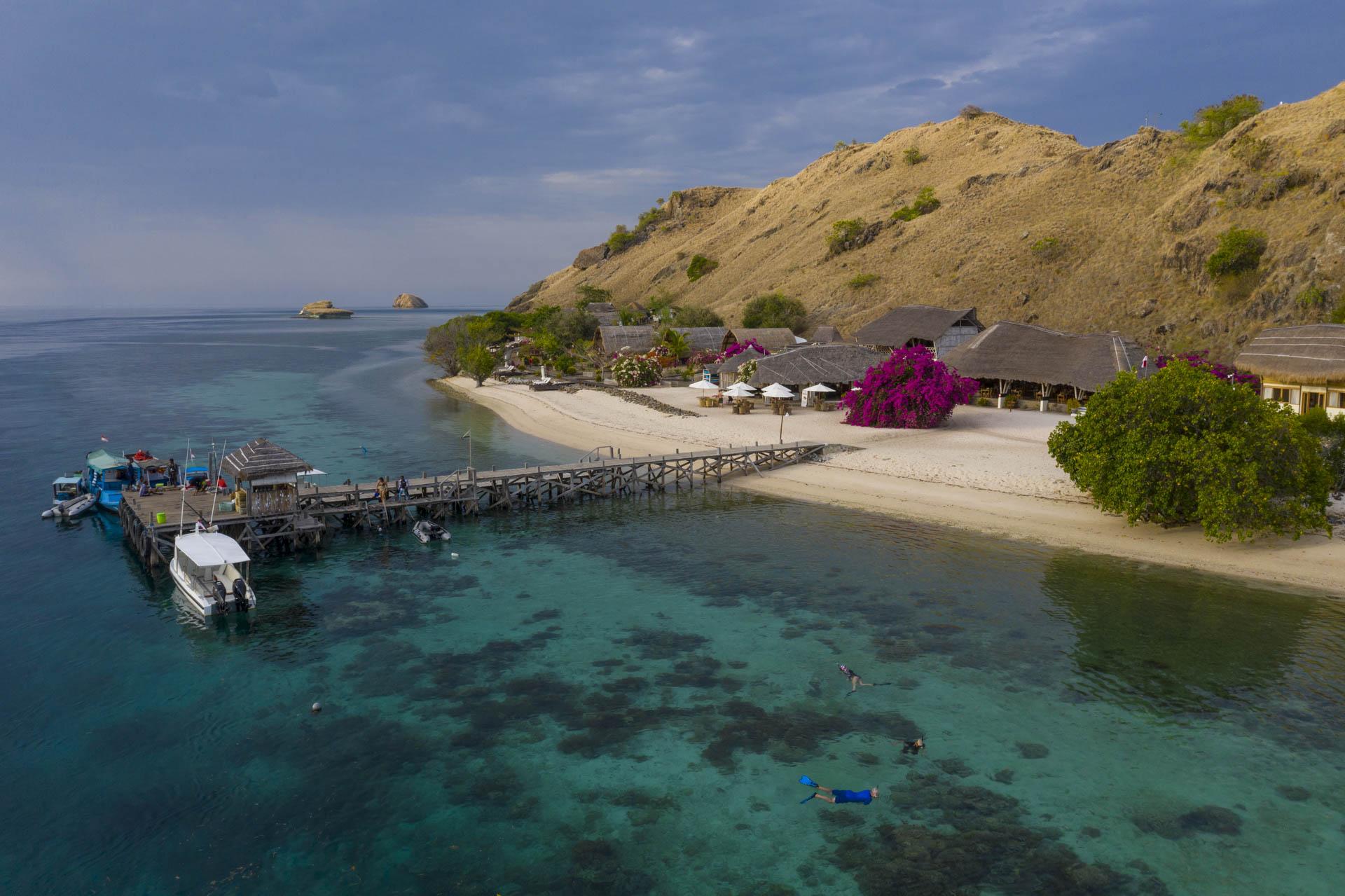 house reef and pier at komodo resort