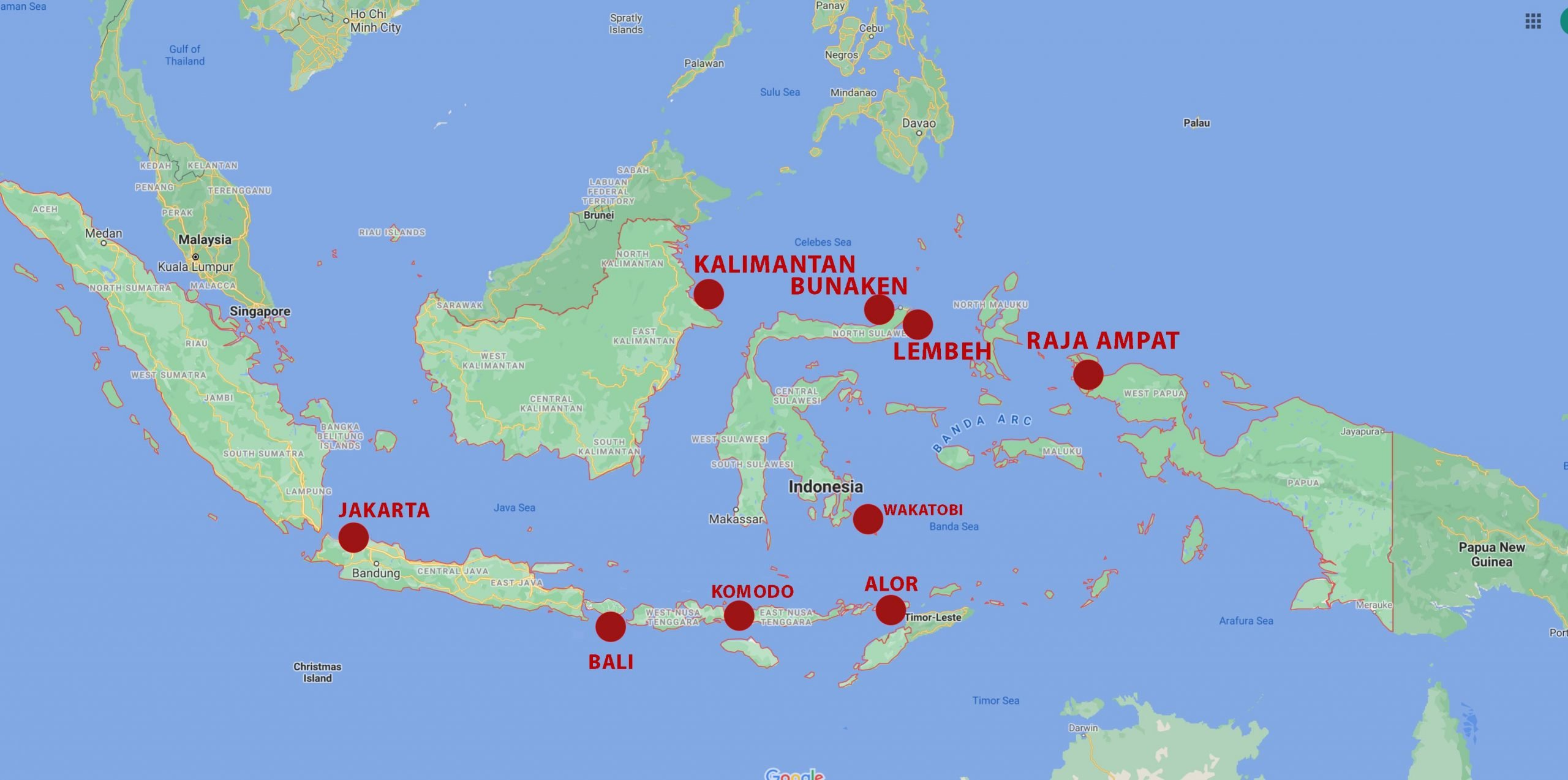 Indonesia map with Snorkel Venture locations