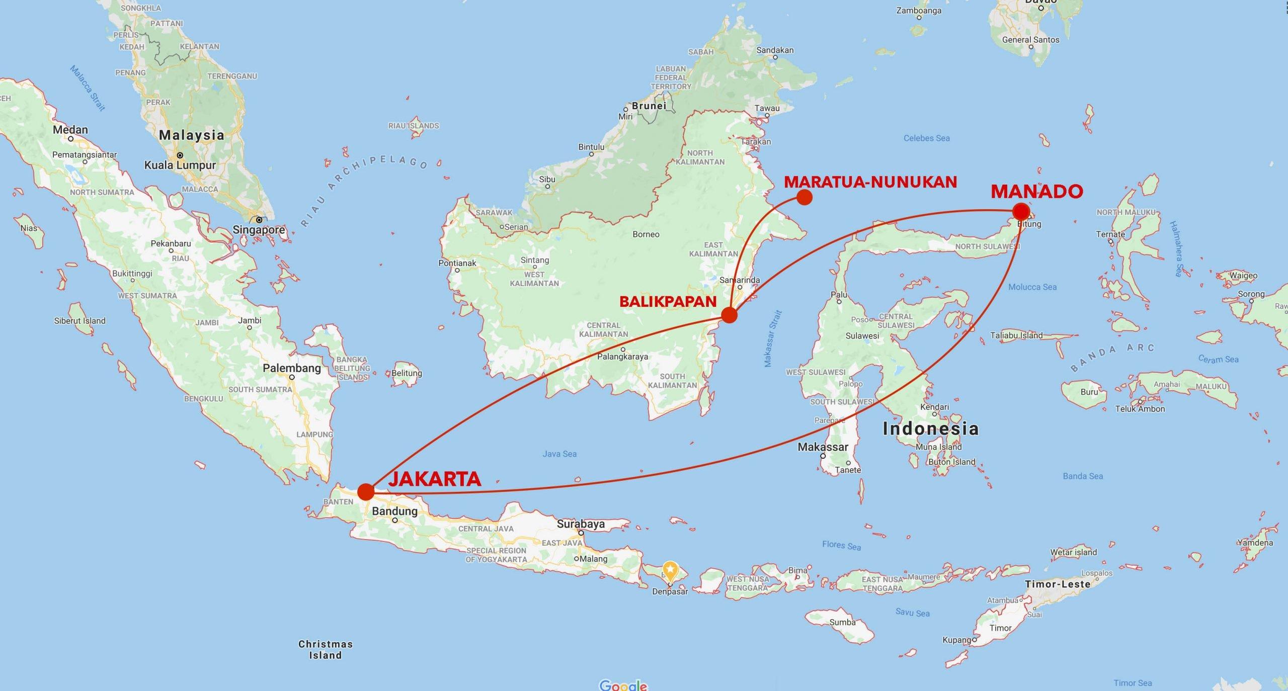 Borneo to North Sulawesi snorkel safari itinerary map