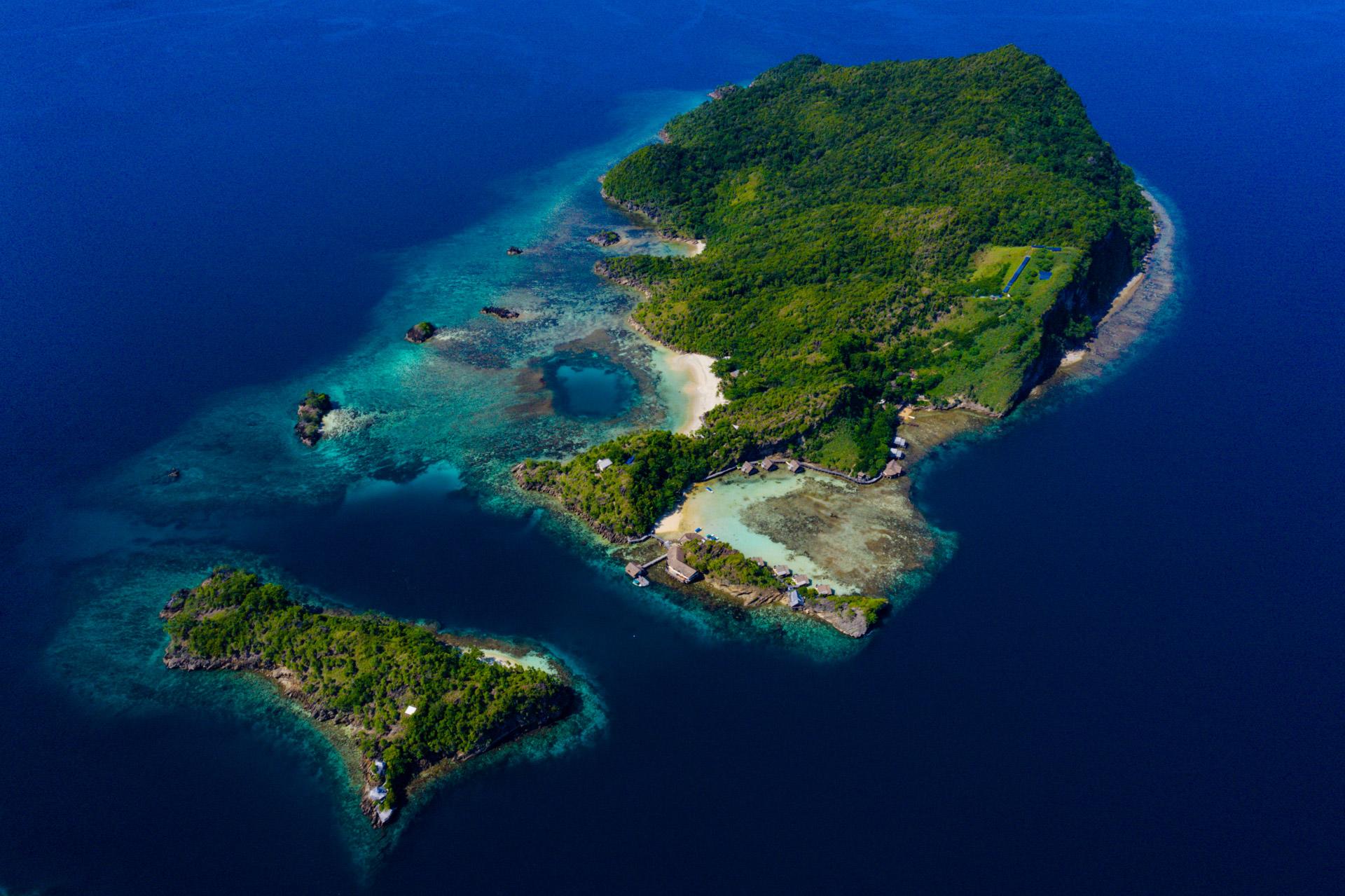 Aerial view of misool resort