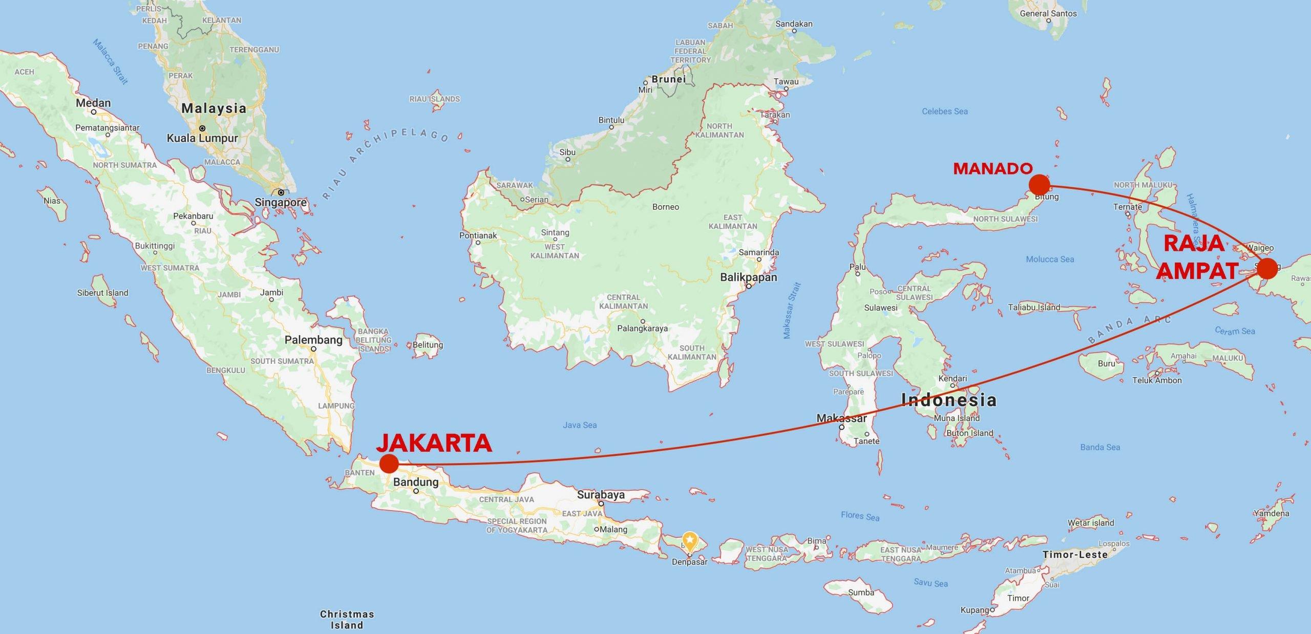 North Sulawesi to Raja Ampat snorkel safari map
