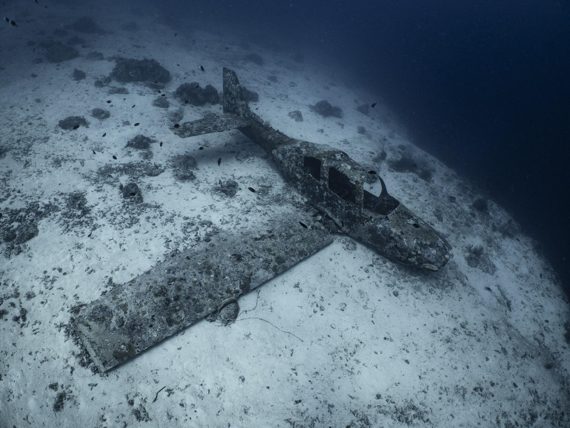 airplane sitting on the bottom of the sea