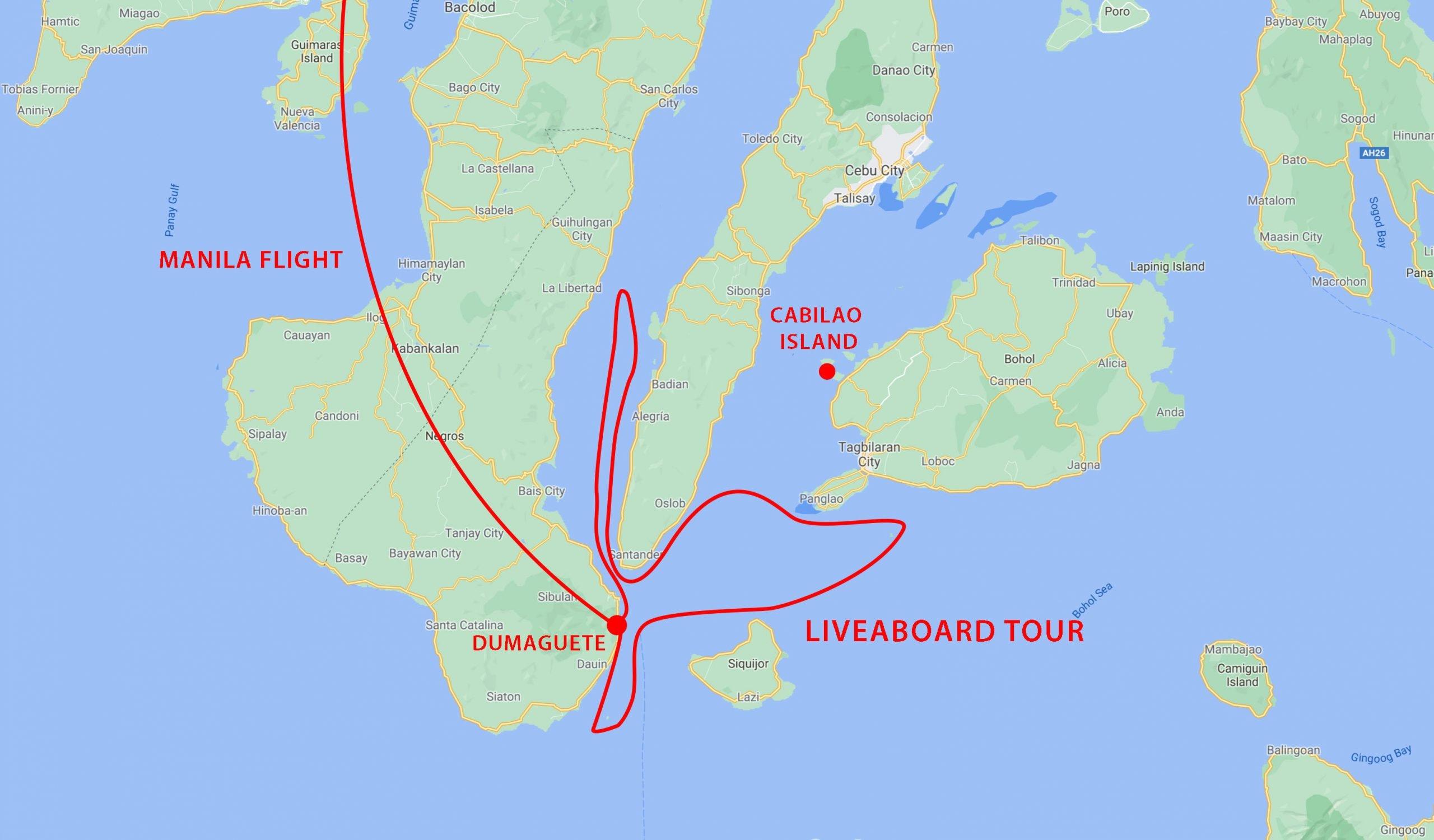 Philippines snorkel safari map