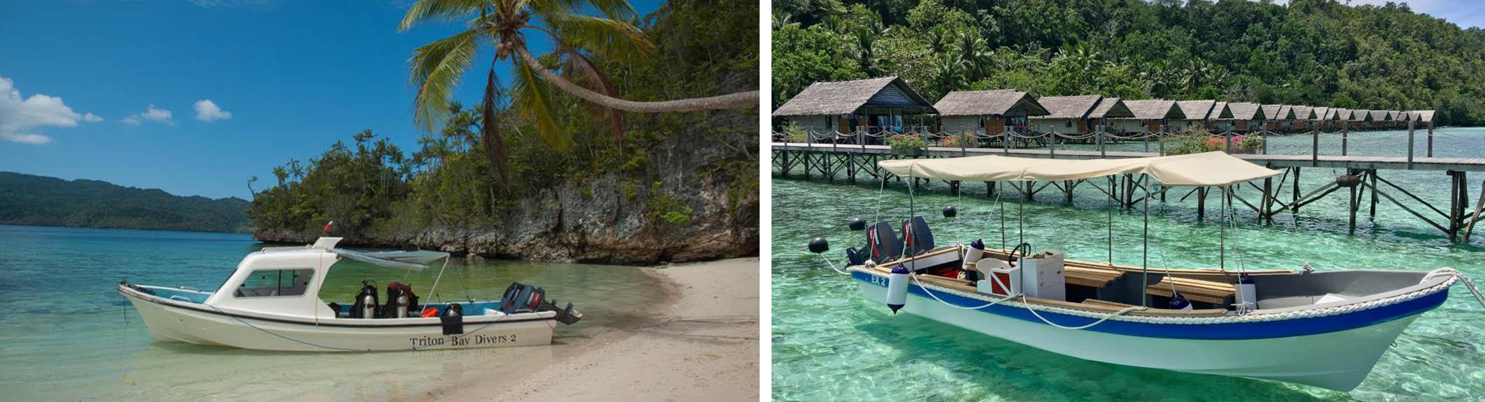 Triton Bay and papua Explorers snorkel boats