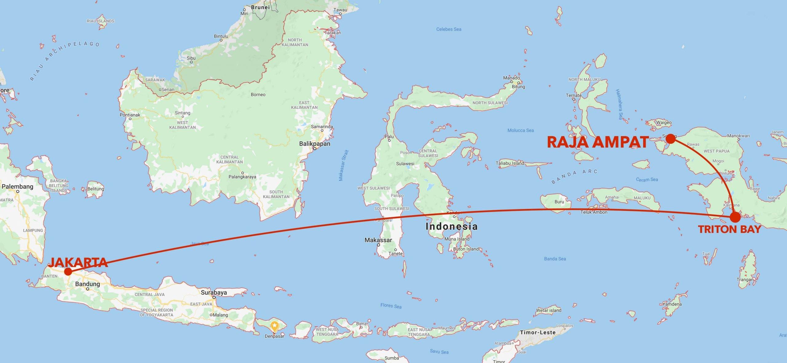 Triton Bay to Raja Ampat snorkel safari itinerary map