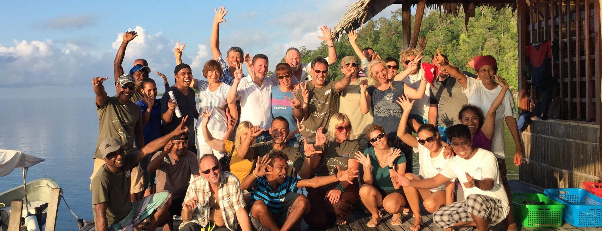 happy guests at papua explorers eco resort