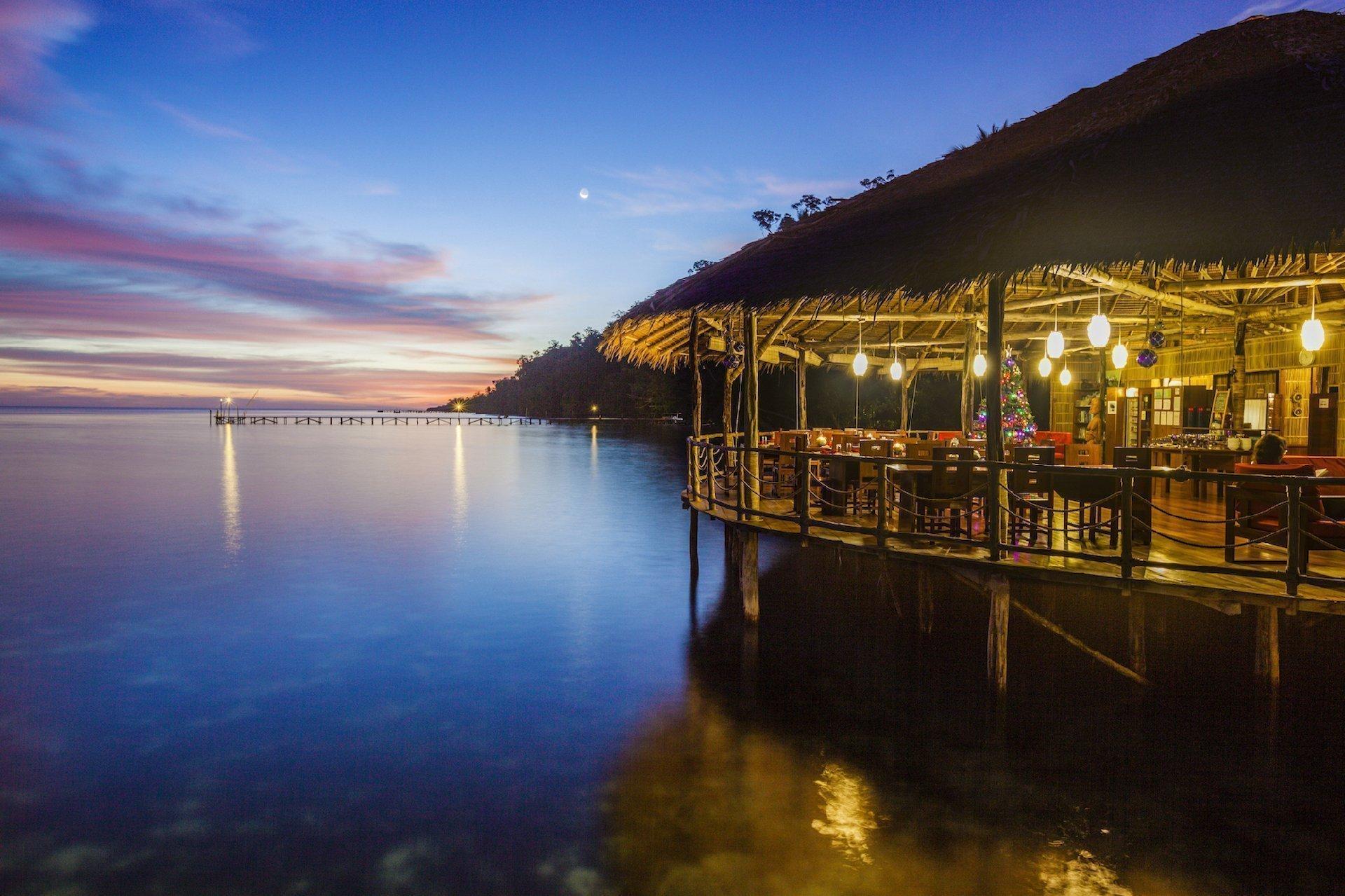 papua Explorers resort at dusk
