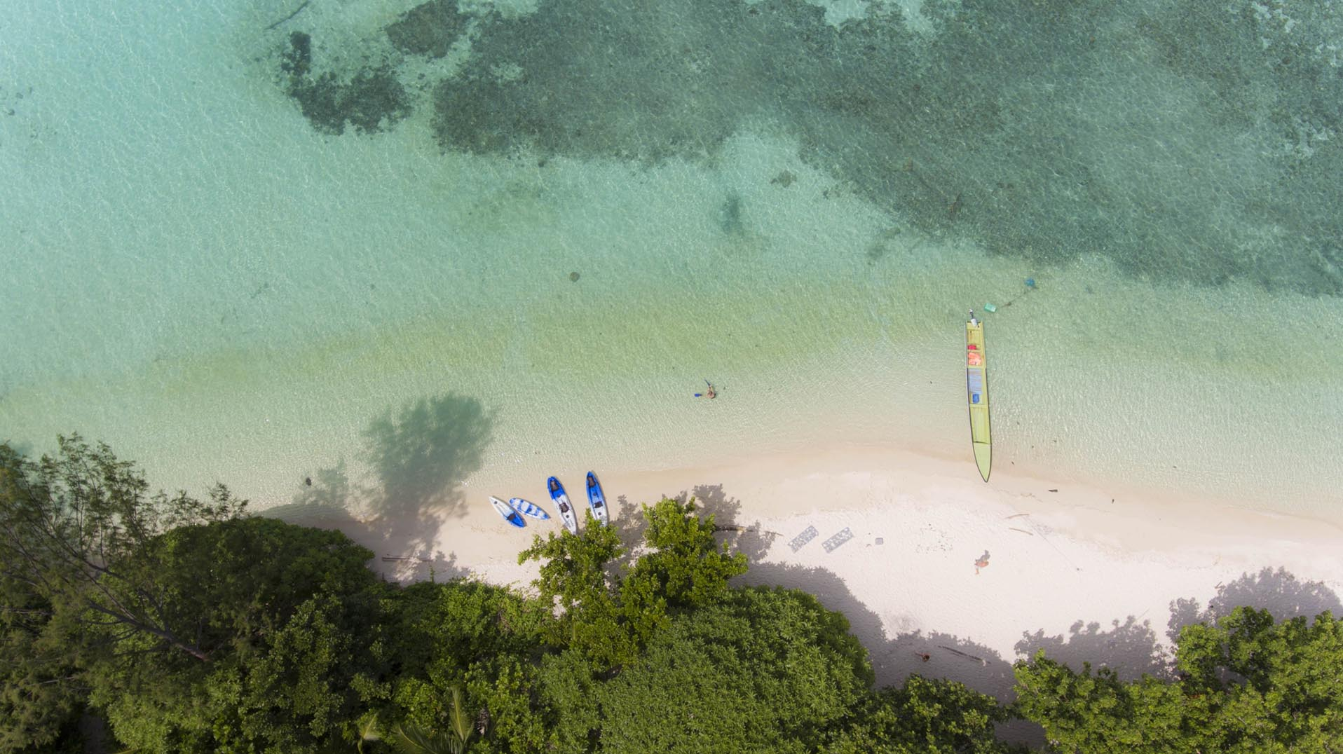 White sand beach with Kayaks and jungle
