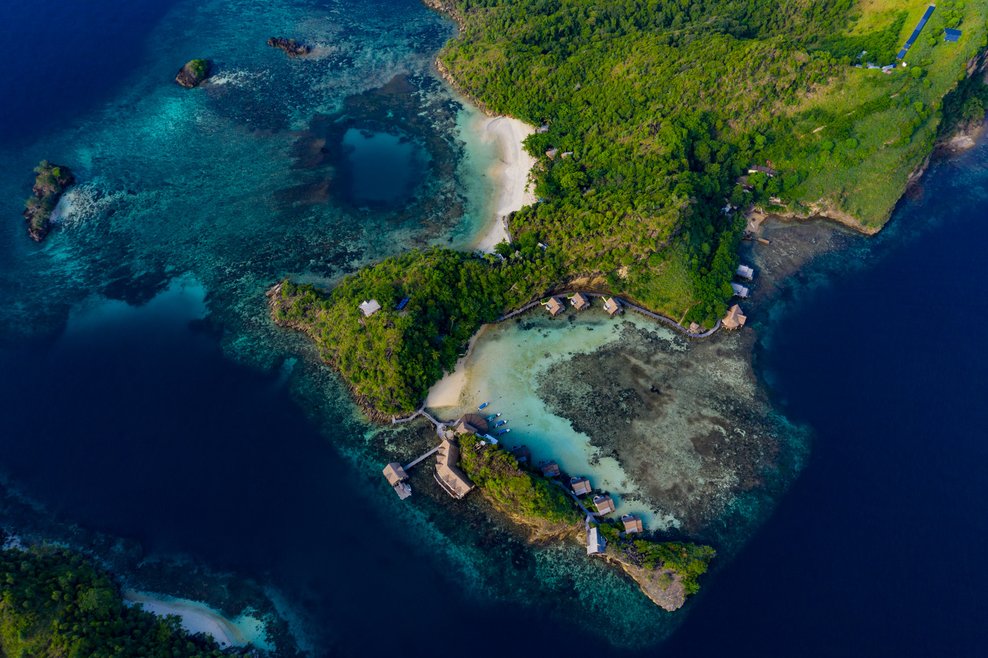 aerial view of misool resort