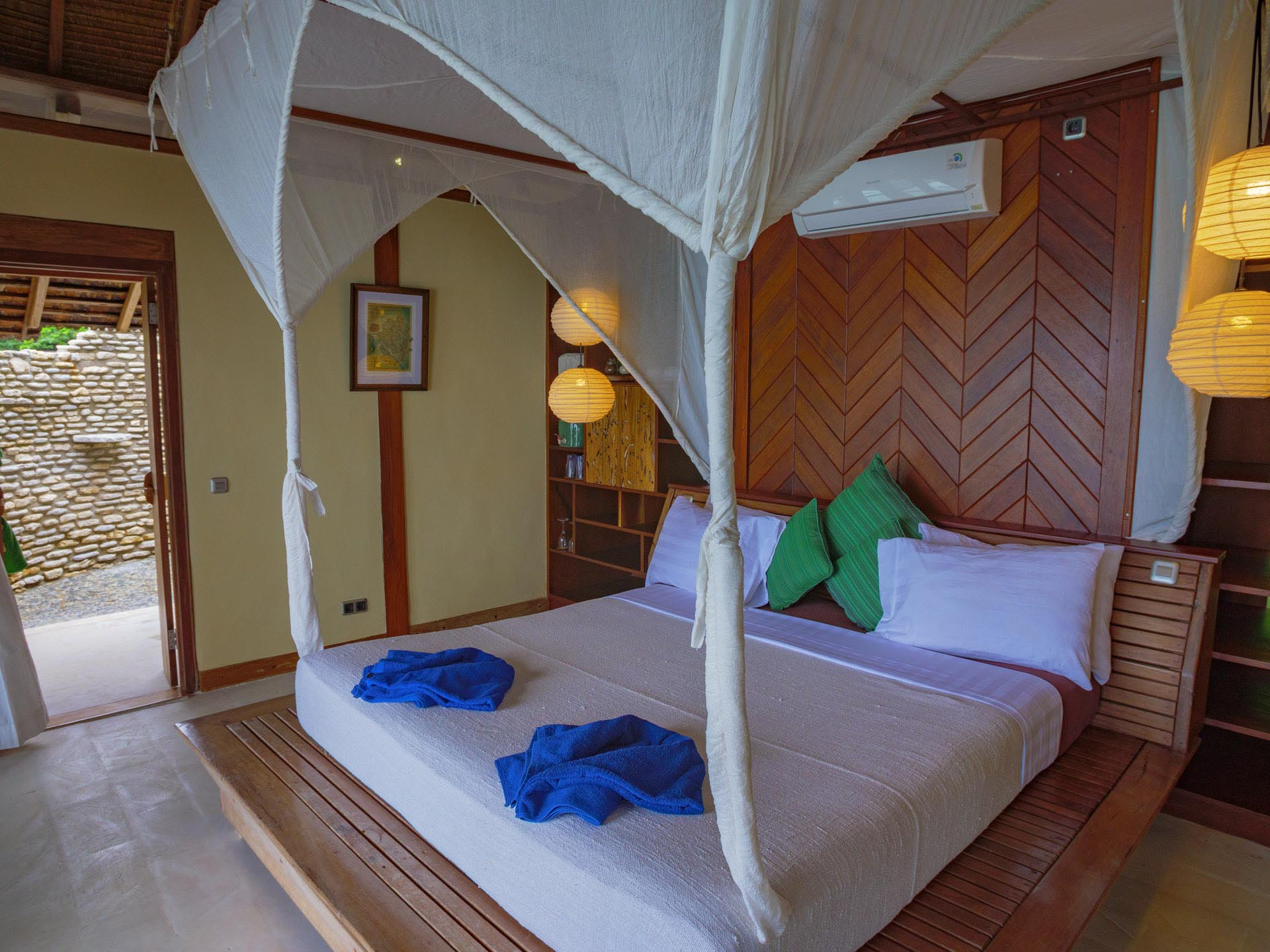 interior of Misool resort's water bungalows