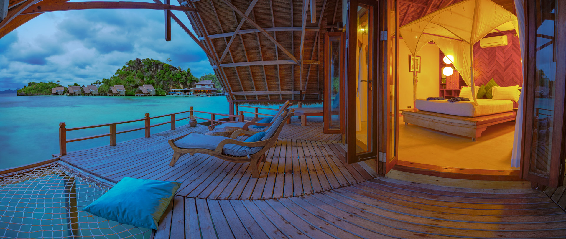 panorama of misool resort's rooms and balcony